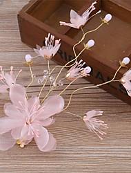cheap -Tulle Imitation Pearl Fabric Silk Net Alloy Flowers Hair Clip Hair Claws Headpiece
