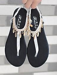Damen Sandalen Komfort Sommer PU Normal Schwarz Silber Flach