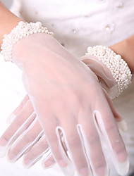 cheap -Breathable Mesh Tulle Wrist Length Glove Formal Simple Luxury Mesh Bridal Gloves Party/ Evening Gloves With Beading