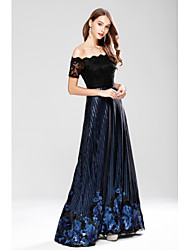 A-Line Off-the-shoulder Floor Length Lace Sequined Formal Evening Dress with Embroidery Lace Sequins by YIYIAI