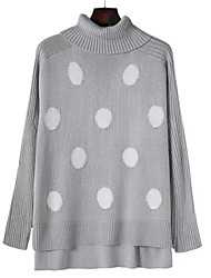 abordables -Femme Manches Longues Pullover - Points Polka Col Roulé