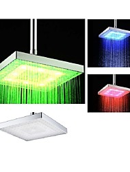 cheap -8 Inch Chrome Temperature Control Heat Sensor Colorful LED Shower Head Rain Shower