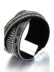 Women's Wrap Bracelet Rhinestone Friendship Movie Jewelry Luxury Fashion Vintage Bohemian Punk Hip-Hop Rock Stretch Turkish Gothic PU