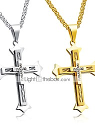 cheap -Men's Pendant Necklace - Titanium Steel Cross Personalized, Classic, Fashion Gold, Silver Necklace For Party, New Baby, Gift