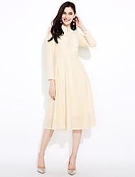 baratos -Mulheres Para Noite balanço Vestido Jacquard Colarinho Chinês Longo / Outono / Inverno