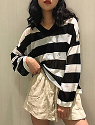 Standard Cashmere Da donna-Casual A strisce A V Manica lunga Poliestere Primavera Sottile Media elasticità