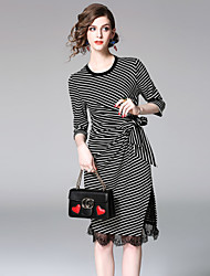 cheap -EWUS Women's Daily Going out Street chic Sheath Dress,Striped Round Neck Knee-length Half Sleeves Polyester Summer Fall High Rise Inelastic