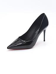 baratos -Mulheres Sapatos Couro Ecológico Verão Tira em T Saltos Caminhada Salto Agulha Dedo Apontado para Social Preto Khaki Vinho Verde Escuro