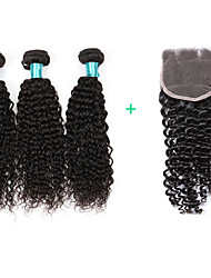 cheap -Kinky Curly Hair Extensions 3 Bundles Human Hair Weft With Closure 4X4 Size Brazilian Virgin Hairs Women Hairs Texture Kinky Curly