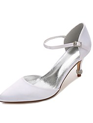cheap -Women's Wedding Shoes Comfort D'Orsay & Two-Piece Spring Summer Satin Wedding Dress Party & Evening Hollow-out Low Heel Kitten Heel