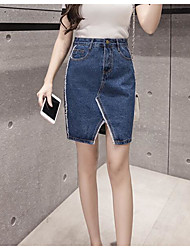 Women's Casual/Daily Knee-length Skirts Pencil Solid Summer