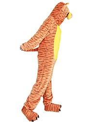 cheap -Adults' Kigurumi Pajamas with Slippers Tiger Onesie Pajamas Costume Flannel Fabric Cosplay For Animal Sleepwear Cartoon Halloween Festival / Holiday / Stripe / Christmas