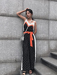 Women's Club Simple Summer Blouse Pant Suits,Floral V Neck Sleeveless Micro-elastic
