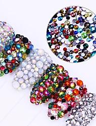 cheap -300Pcs Chameleon Flame Nail Rhinestone Shiny Opal Flat Bottom Multi-size Colorful Tips Manicure Nail Art 3D Decoration