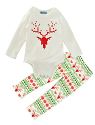 cheap -Baby Boy's Daily Animal Print Clothing Set Spring/Fall Winter Christmas Deer Romper Pants 2pcs Outfits