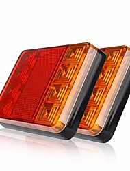 cheap -ZIQIAO 2Pcs 8 LEDS Car Truck Rear Tail Light Warning Lights Rear Lamps Waterproof Tailights Rear Parts for Trailer Truck Boat DC 12V