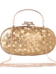 cheap -Women's Bags Faux Leather Evening Bag Rhinestone / Metal Chain Black / Silver / Red