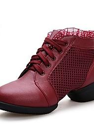 Damen Tanz-Turnschuh Leder Sneakers Im Freien Niedriger Heel Weiß Schwarz Rot 2,5 - 4,5 cm
