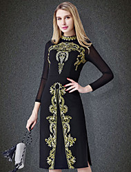 cheap -YHSP Women's Daily Going out Plus Size Vintage Street chic Sophisticated Bodycon Sheath Dress,Embroidered Stand Midi Long Sleeves Polyester