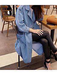 Giacca di jeans Da donna Per uscire Casual Semplice Primavera Autunno,Tinta unita Colletto alla Peter Pan Cotone Lungo Manica lunga