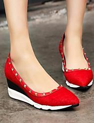 Damen Schuhe Echtes Leder PU Herbst Winter Pumps High Heels Für Normal Schwarz Rot
