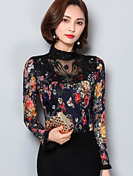 cheap -Women's Daily Casual Blouse,Floral Round Neck Long Sleeves Polyester
