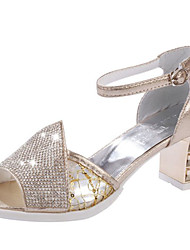 cheap -Women's Shoes PU Summer Slingback Sandals Chunky Heel Peep Toe Rhinestone for Dress Gold Silver