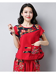 Women's Casual/Daily Chinoiserie T-shirt,Print Embroidery Round Neck Short Sleeves Cotton Linen