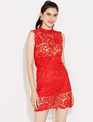 Spitzen rot / weiß / schwarz Kleid der Frauen, sexy Ministandplatzkragen ärmel