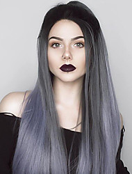 cheap -Uniwigs Women Synthetic Wig Lace Front Long Straight Grey Ombre Hair Natural Wigs Costume Wig