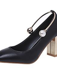 Damen High Heels Walking T-Riemen PU Sommer Normal Perle Blockabsatz Weiß Schwarz 5 - 7 cm