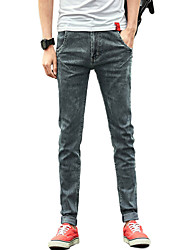 cheap -Men's Simple Cotton Skinny Jeans Pants - Solid Colored