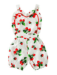 cheap -Baby Girls' Print One-Pieces,Cotton Summer Floral Sleeveless White