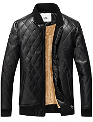 cheap -Men's Daily Vintage Winter Fall Leather Jacket,Solid Stand Long Sleeve Regular PU