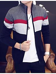 Standard Cardigan Da uomo-Casual Semplice A strisce Girocollo Manica lunga Poliestere Primavera Sottile Media elasticità