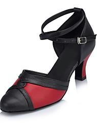 Damen Modern Leder Sandalen Innen Maßgefertigter Absatz Schwarz/Rot