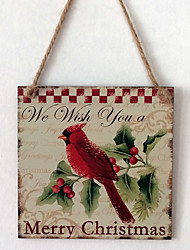 The European and American wooden Christmas red birds are listed for Christmas Eve Christmas bird wooden hanging board