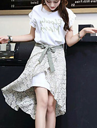 Women's Office/Career Daily Casual Pattern Casual Fashion Spring Summer T-shirt Skirt Suits,Solid Floral Print Round Neck Short Sleeve