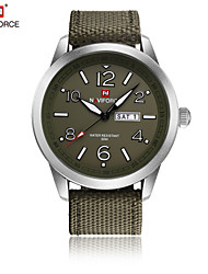 cheap -NAVIFORCE Men's Quartz Wrist Watch Japanese Water Resistant / Water Proof Fabric Band Casual Dress Watch Fashion Cool Green Khaki
