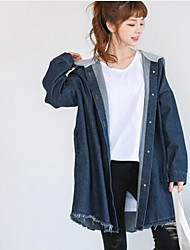 Women's Sports Chinoiserie Summer Denim Jacket,Solid Round Neck Long Sleeve Regular Linen Fur Trim