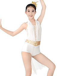 cheap -Jazz Unitards Women's Performance Polyester Spandex Draping Sashes / Ribbons Paillette Flower Sleeveless Natural Leotard / Onesie Headwear