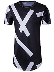 cheap -Men's Daily Casual Spring Summer T-shirt,Striped Round Neck Short Sleeves Linen