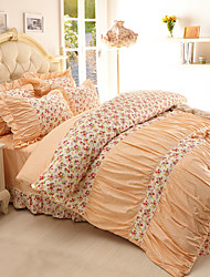 Duvet Cover Sets Floral 4 Piece Reactive Print 1pc Duvet Cover 2pcs Shams 1pc Flat Sheet