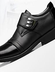 Masculino Sapatos Pele Real Primavera Outono Conforto Oxfords Salto Baixo Ponta Redonda Para Casual Preto Castanho Escuro