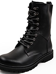 Men's Boots Comfort Spring Fall Winter PU Casual Flat Heel Black Light Brown Flat