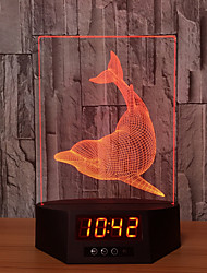 Basa Dolphins Acrylic 3D Night Light Ban Led Calendar Desk Lamp Colors Change