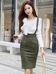 DABUWAWA Women's Holiday Going out Casual/Daily Sexy Vintage Sophisticated Spring Fall BlouseSolid Round Neck Long Sleeves Cotton Polyester
