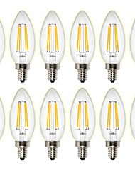 cheap -12PCS 4W 400 lm LED Filament Bulbs C35 4 leds COB Dimmable Decorative Warm White AC 220-240 AC 110-130 V