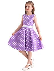 cheap -Girl's Polka Dot Dress,Cotton All Seasons Sleeveless Bow Purple
