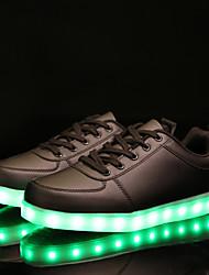 Da donna Sneakers Comoda Suole leggere Scarpe luminose PU sintetico Primavera Autunno Casual Serata e festa Lacci Piatto Bianco Nero
